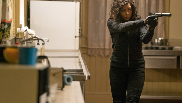 Mary (Taraji P. Henson) stalks her prey in the kitchen of the Kozlov mansion in Screen Gems' PROUD MARY.