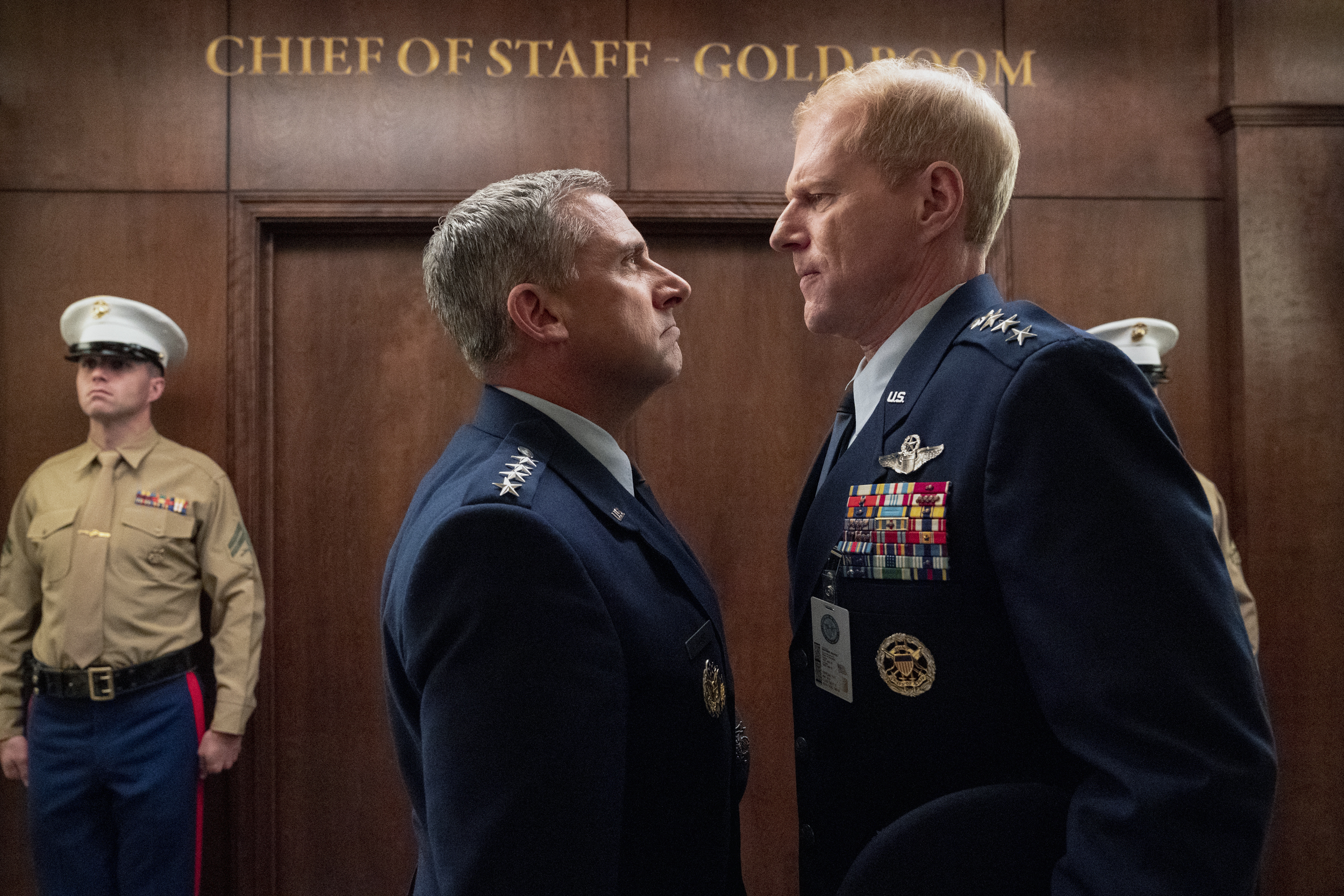 SPACE FORCE (L TO R) STEVE CARELL as GENERAL MARK R. NAIRD and NOAH EMMERICH as KICK GRABASTON in episode 103 of SPACE FORCE Cr. AARON EPSTEIN/NETFLIX © 2020