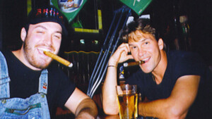 (Left to right): Musician/bartender/neophyte filmmaker Troy Duffy, seen here with actor Patrick Swayze. Photo credit: THINKFilm.
