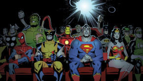 Marvel-and-DC-Characters-watching-a-movie